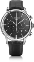 Locman 1960 Silver Stainless Steel Men's Chronograph Watch w/Black Croco Embossed Leather Strap