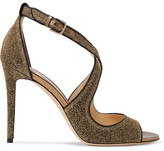 Jimmy Choo Emily Leather-trimmed Textured-lamé Sandals - Gold