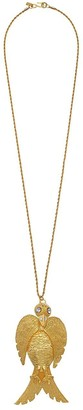 """Kenneth Jay Lane 32"""" Satin Gold with Crystal Face Large Bird Pendant S"""" Hook Necklace Satin Gold/Crystal One Size"""
