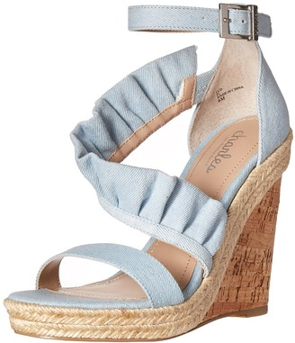 Charles by Charles David Women's Brooke Wedge Sandal Light Blue 9.5 M US