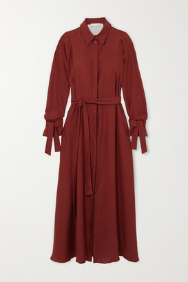 BITE Studios - Net Sustain Belted Organic Silk Maxi Dress - Burgundy