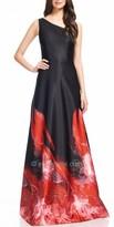 David Meister Fiery Floral Ombre Evening Dress