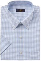 Club Room Men's Classic-Fit Easy Care Light Blue Double Tattersall Short-Sleeve Dress Shirt, Created for Macy's