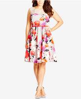 City Chic Plus Size Floral-Print Illusion Fit & Flare Dress