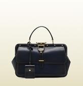 Lady Stirrup Top Handle Dark Blue Leather Bag