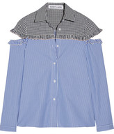 Sandy Liang - Mercury Cutout Gingham-paneled Striped Cotton Shirt - Blue