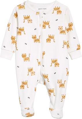 Petit Lem Tiger Print Fitted Organic Cotton One-Piece Pajamas