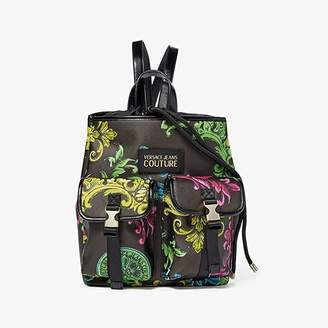 Versace Eco Leather Baroque Print Backpack (Black) Backpack Bags
