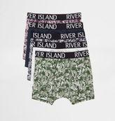 River Island Mens Blue palm leaf print trunks multipack