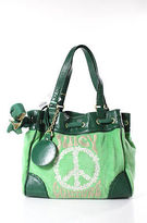 Juicy Couture Green Cotton Leather Trim Gold Tone Hardware Shoulder Handbag