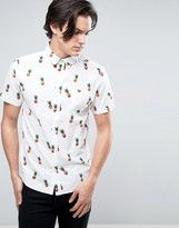 Brave Soul All Over Pineapple Print Short Sleeve Shirt