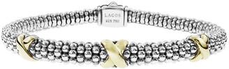 Lagos Silver & 18k Gold Caviar X Bracelet, 6mm
