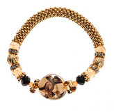 Murano LJ Accessories L&J Accessories Goldtone Mesh Bracelet with Jet & Brown Beads