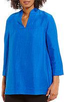 Eileen Fisher High Collar Slit Neck Top