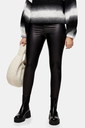 Topshop Womens Petite Black Pu Shiny Leggings - Multi