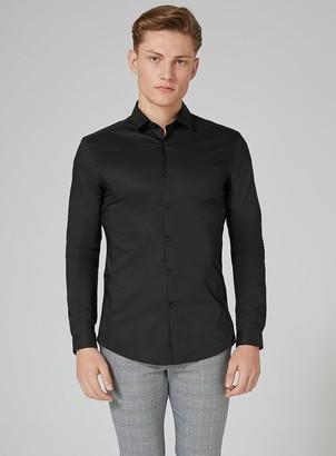 Topman Black Stretch Skinny Smart Shirt