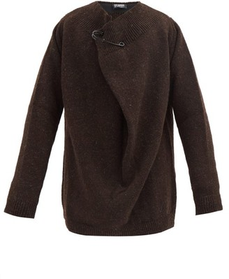Raf Simons Pin Oversized Wool Sweater - Dark Brown