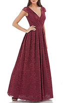 JS Collections Surplice Wrap Cap-Sleeve Lace Ball Gown