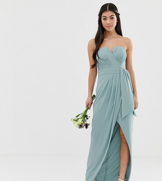TFNC Petite bridesmaid exclusive bandeau wrap midaxi dress with pleated detail in sage