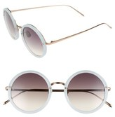 Linda Farrow 51mm Round 18 Karat Rose Gold Sunglasses