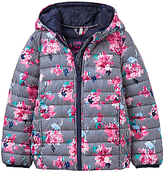 Joules Little Joule Girls' Floral Pack Away Padded Jacket, Navy/Pink