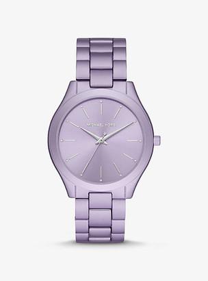 Michael Kors Oversized Slim Runway Lilac-Tone Aluminum Watch