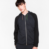 Paul Smith Men's Navy And Black Panelled Hooded Track Top