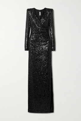 Naeem Khan Wrap-effect Draped Sequined Tulle Gown - Black
