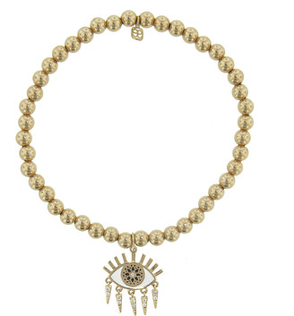 Sydney Evan Kalediscope Evil Eye Charm on Gold Beaded Bracelet - Yellow Gold