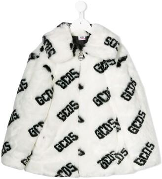 Gcds Kids Faux Fur Logo Coat
