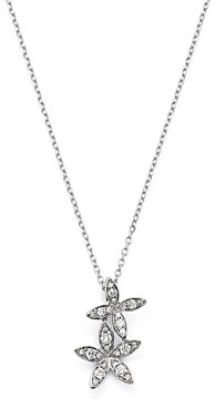 Bloomingdale's Kc Designs 14K White Gold Double Flower Diamond Necklace, 16