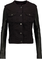 J Brand Leather-paneled denim jacket