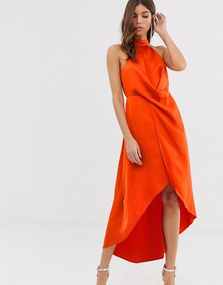 Asos Design DESIGN satin midi dress with high neck and wrap skirt-Orange