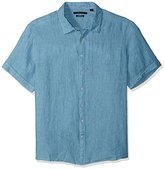 Perry Ellis Men's Big and Tall Solid Short Sleeve Linen Shirt