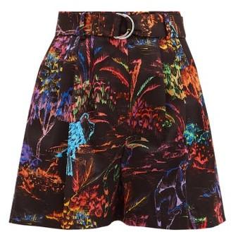 MSGM Jungle-print High-rise Cotton Shorts - Black Multi