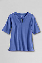 Lands' End Women's Petite Half Sleeve 60/40 Splitneck Shirt-True Blue