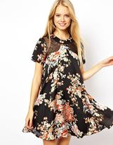 Asos Oriental Floral Swing Dress Wtih Lace Inserts