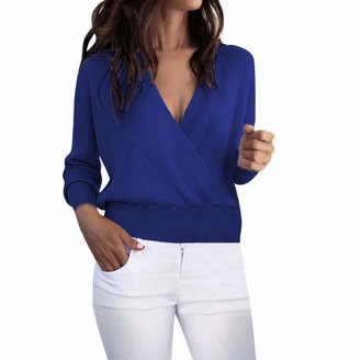 Lazzboy Womens Sweater Tops Knitted Long Sleeve V Neck Ribbed Solid Short Basic Pullover Jumper Blouse(M