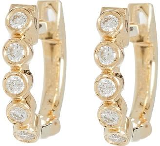Ef Collection Mini Diamond Bezel Huggie Hoop Earrings