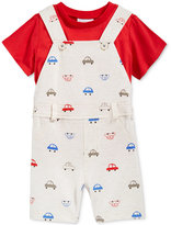 First Impressions 2-Pc. T-Shirt & Car-Print Overall Set, Baby Boys (0-24 months), Created for Macy's