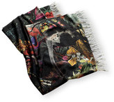 Alpi011P1 Enchanted Forest Printed Cashmere Throw, Multi