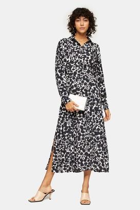 Topshop TALL Black and White Print Midi Shirt Dress