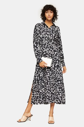 Topshop Womens Tall Black And White Print Midi Shirt Dress - Monochrome