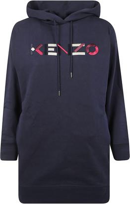 Kenzo Logo Print Hooded Dress