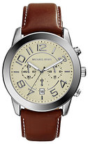Michael Kors Mercer Silver-Tone Leather Watch