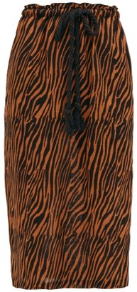 Lisa Marie Fernandez Yidit Drawstring Zebra-print Cotton Midi Skirt - Womens - Brown Print