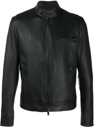 Desa 1972 Collarless Leather Jacket