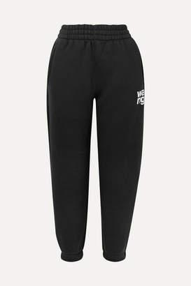 Alexander Wang Printed Cotton-blend Fleece Track Pants - Black