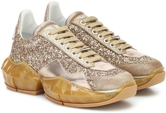 Jimmy Choo Diamond/F glitter and leather sneakers
