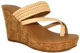 Fashion Focus Nude Alicia Toe-Strap Wedge Sandal